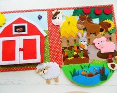 Farm Quiet BookQuiet book PDF pattern for toddlers Quiet image 1 Montessori Activities, Book Activities, Toddler Activities, Quiet Book Templates, Quiet Book Patterns, Needle Felted Animals, Felt Animals, Farm Animals For Toddler, Touch And Feel Book