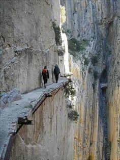 El Chorro, Spain | I wonder how you say 'no frigging way I'm walking on that ledge' in Spanish...