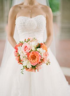 Pink + Coral ... Beautiful Bouquet! http://www.StyleMePretty.com/2013/11/15/lake-forest-illinois-wedding-from-laura-ivanova-photography/  Laura Ivanova Photography