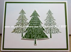 Peaceful Pines Stamp set and Perfect Pines framelit - Stampin' Up! 2015 Holiday catalogue.