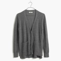 Madewell Spring-Weight Cardigan Sweater in Gray (hthr pewter)
