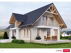 House with attic in traditional style with usable area House with a single garage. Minimum size of a plot needed for building a house is m. Rustic Houses Exterior, Dream House Exterior, Dream House Plans, Small House Plans, Minimal House Design, Model House Plan, Facade House, House Layouts, Cabana