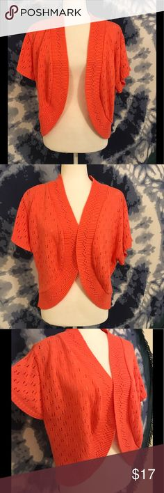 NWOT Crochet Style Shrug by Simply Be Sz. 20/22 Super cute and versatile lightweight shrug. Coral orange color in size 20/22. Never worn. Simply Be Tops