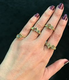 Designer made rough diamond two stone rings for alternative engagement ring styles