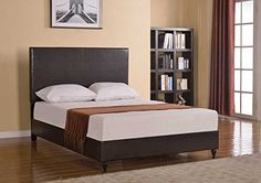 Home Life Brown Leather Platform Bed with Slats Queen - Complete Bed 5 Year Warranty Included //http://bestadjustablebed.us/product/home-life-brown-leather-platform-bed-with-slats-queen-complete-bed-5-year-warranty-included/