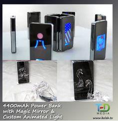 Customised animated logo on mirror power bank