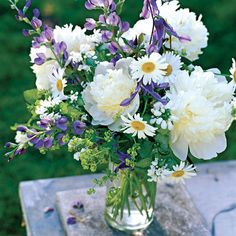 Fresh as Spring: Pure white peonies dominate this late-spring bouquet with their oversized blooms and potent perfume. 'White Nancy' lamium and Shasta daisies intensify the white color scheme. Deep blue baptisia, purple clematis, and chartreuse lady's mantle make the perfect foil.