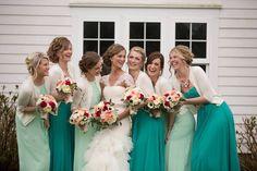 Seven Sister Designs - bridal party - bridal bouquet - bridesmaids - teal - mint - coral - spring wedding