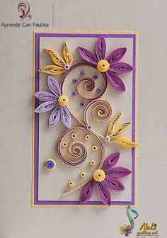 Neli is a talented quilling artist from Bulgaria. Her unique quilling cards bring joy to people around the world.♥ Lavender / Purple and Yellow Neli Quilling, Paper Quilling Cards, Paper Quilling Flowers, Paper Quilling Patterns, Quilling Craft, Quilling Ideas, Rolled Paper Art, Quilled Creations, Quilling Tutorial