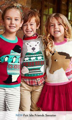 Garnet Hill Girls' Sweaters and Girls' Cardigans. New Fair Isle Friends Girls' Sweater.