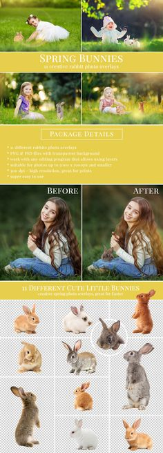 Creative Spring Bunnies photo overlays for Photoshop, great for spring mini sessions – style original scenes with very realistic result.