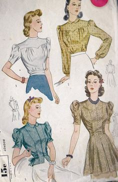 1940s Misses Blouse Vintage Sewing Pattern Simplicity 3367 Bust 34""