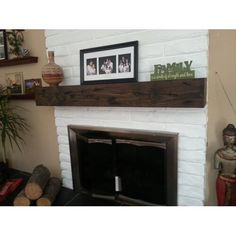 Millwood Pines Shiela Fireplace Shelf Mantel & Reviews   Wayfair Distressed Fireplace, Rustic Fireplace Mantels, Fireplace Shelves, Mantel Shelf, Home Fireplace, Fireplace Remodel, Fireplace Design, Fireplace Ideas, Mantle Ideas