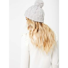 Miss Selfridge Grey Knitted Pom Beanie ( 17) ❤ liked on Polyvore featuring  accessories 02469932c49d