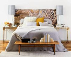 Marble-Patterned Headboard
