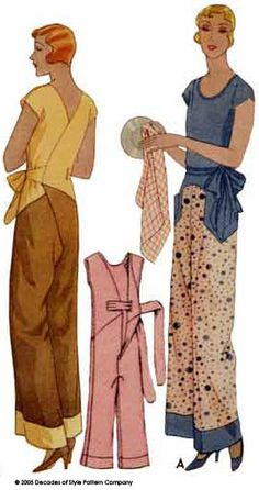 "Lounging goes vintage! Decades of Style Pattern ""Kitchenette Pajamas"" from the 1930s. We carry this pattern in our store - it looks great in silk, linen or cotton,"