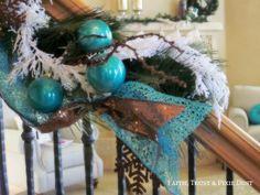 Turquoise & Bronze Christmas Decor