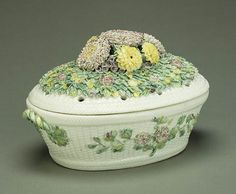 """Lidded Bowl French, Mennecy, about 1735  """"This milky-white bowl with a pierced lid was probably used to hold potpourri, which was common in elegant homes of the 1700s."""""""