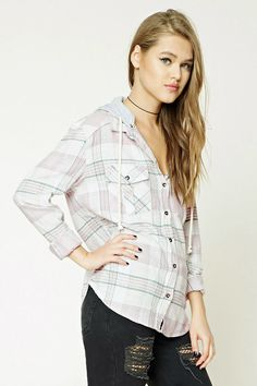 Hooded Plaid Flannel Shirt | Forever 21 - 2000251637