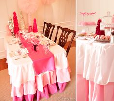 Kate Landers Events, LLC: A Nutcracker Suite Ballet Party {Signature Party} Ballerina Party, Pink Christmas, Christmas Colors, Christmas Trees, Xmas, Christmas Fabric, Little Girl Birthday, Throw A Party, Pink Parties