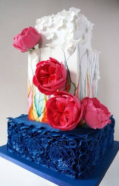 This was last Week Wedding Cake for Katie + Andy and thus I finished my Navy Blue Season this year! :) I nearly had one more but colour was changed in the end. Katie wanted some Peony-roses in bright Pink [ they aren't as bright as they came out. Amazing Wedding Cakes, Unique Wedding Cakes, Unique Cakes, Creative Cakes, Amazing Cakes, Cute Cakes, Pretty Cakes, Glass Cakes, Painted Cakes