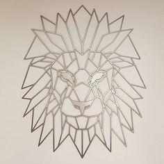 Geometric Lion Metal Art