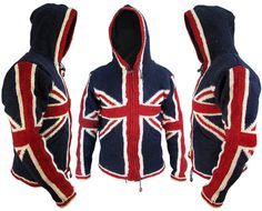 Union Jack Woolen Fleece Lined Winter Pocket Warm Nepalese Jacket Jumper Hoodie Union Flag Funky Comfy Festival Pullover Cardigan Hood