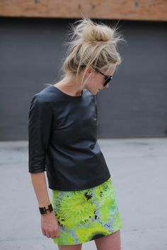 Could I pull this off? Neon skirt and leather-like shirt