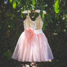Gold Peach Pink Tulle Flower Girl Dress Set, Gold sequin dress, Gold Peach Wedding, Gold glitter chiffon dress, Peach flower girl dressThis set includes: gold sequin and peach/pink dress, and s...