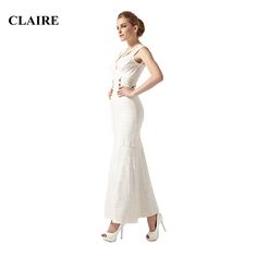 Claire 2016 Summer White Beaded V Neck Mermaid Ankle  Long Ladies Sexy Elegant Party Rayon Dress Womans HL Bandage Dresses CS466