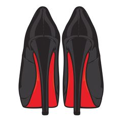 drawing Louboutin Lady Peep 150 Black Patent Leather high heels back view.