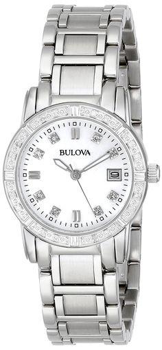 253935f96e1 Amazon.com  Bulova Women s 96R105 Diamond-Accented Stainless Steel Watch   Bulova