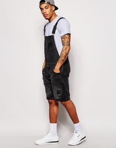 187c51c6c4f2 Image 4 of ASOS Overalls in Short Length Men's Dungarees, Black Dungarees,  Denim Jumpsuit