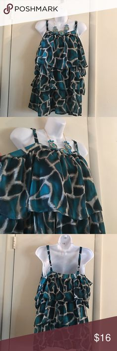 Teal Sheer Ruffle Tier Top🛍 Teal sheer ruffle tier top, adjustable straps, sheer lined, 100% polyester Fashion Bug Tops Tunics