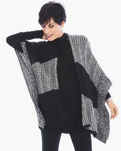 Chico's Women's Zenergy Verona Patchwork Wrap, Black/Optic White, Size: One Size