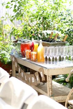 An outdoor drinks bar for your garden party - what a fabulous idea!