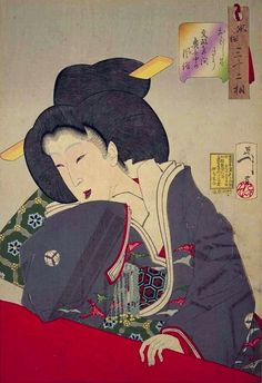 Japanese Art by Tsukioka Yoshitoshi => Like the pattern of the fabrics that the Geisha wears
