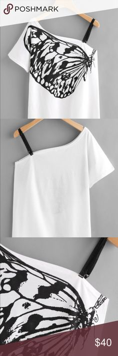 White Butterfly One Shoulder Graphic Top Large White Butterfly One Shoulder Graphic Top Large. New. Two Adjustable black elastic straps on one side. Chest side seam to side seam 18.5 inches. Total length 26 inches. Tops