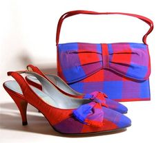 Shoes red and blue checked silk handbag and slingback heels by Palizzio. Vintage Fur, Vintage Boots, Vintage Ladies, Vintage Outfits, Vintage Heels, Vintage Closet, Vintage Sewing, Vintage Style, 60s And 70s Fashion