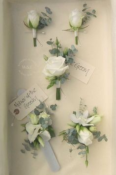 Classic White Rose and Eucalyptus Buttonholes & Corsages by Wedding & Events Floral Design www.weddingandevents.co.uk North Yorkshire Wedding Flowers