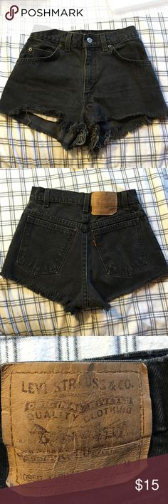 High waisted shorts Black high waisted shorts. Bottoms are frayed. Levis. Levi's Shorts Jean Shorts