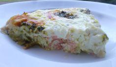 quiche sans pâte poireaux/saumon fumé/mozza beurre à l'ail persillé