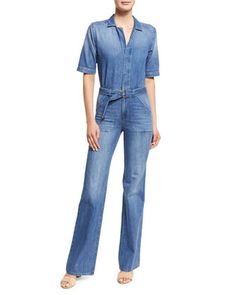Tao+Belted+Denim+Short-Sleeve+Jumpsuit,+Blue+by+ba&sh+at+Neiman+Marcus.