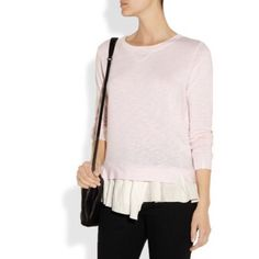 Anthropologie Pink Ruffled-Hem Terry Sweater Light-pink terry pullover by Clu. White ruffled hem, ribbed trims. In excellent condition. Size L.  - Cut for a relaxed fit - Mid-weight stretchy fabric - Take the next size up if you wish to achieve a looser fit.  NO Trades. Please make all offers through offer button. Anthropologie Sweaters Crew & Scoop Necks