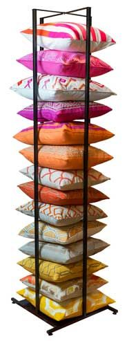 Retail Furniture News: Surya to Introduce Novel Space-Saving Pillow Display System at Las Vegas Market, The first display system of its kind, the Surya Pillow Tower holds up to 20 down- or poly-filled pillows.