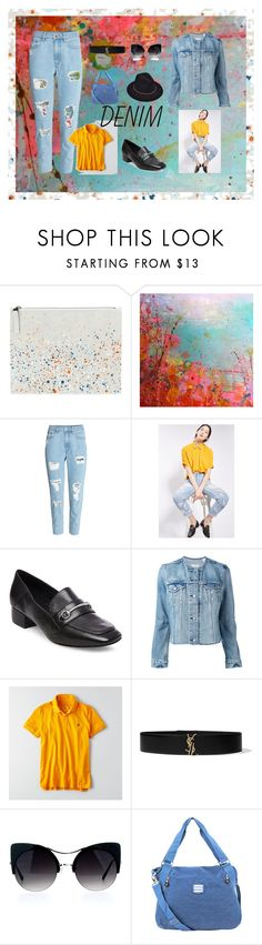 """Distressed Denim Blues"" by donnamarie-s ❤ liked on Polyvore featuring Maison Margiela, H&M, Topshop, Steve Madden, Levi's, American Eagle Outfitters, Yves Saint Laurent and Suvelle"