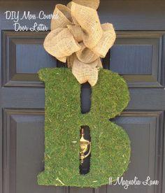 door letter, diy moss, diy tutorial, moss letter, front doors, door wreaths letter, burlap bows, wooden doors, pottery barn