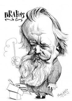 Brahms by Pablo Morales de los Rios Celebrity Caricatures, Music Gifts, Portraits, Famous Faces, Cool Drawings, Clip Art, Cartoon, Comics, Painting