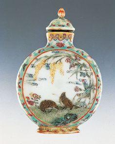 Porcelain bottle with enamel decoration of quails and grains, Qianlong period, 1736–1795. Collection of Christopher C. H. Sin.