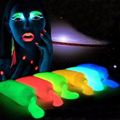 5 Colors Neon Fluorescent UV Body Paint Glow In The Dark Face Painting Luminous